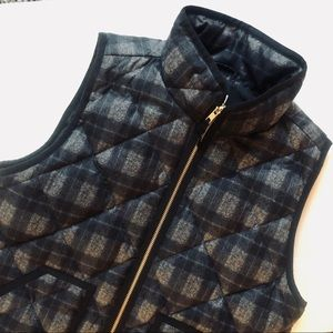 J. Crew | Grey Factory Plaid Quilted Puffer Vest